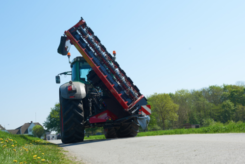 Mower Conditioner with vertical transport position - excellent stability during high speed transport.